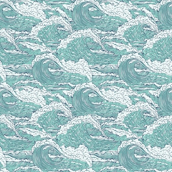 Waves sea ocean seamless pattern. big and small azure bursts splash with foam and bubbles. outline sketch illustration background.