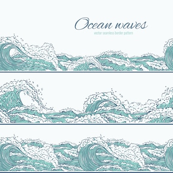 파도 바다 바다 원활한 패턴 테두리입니다. 크고 작은 푸른 버스트가 거품과 거품으로 튀어 나옵니다. 개요 세트 스케치 그림