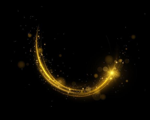 블랙에 고립 된 금 입자와 파도