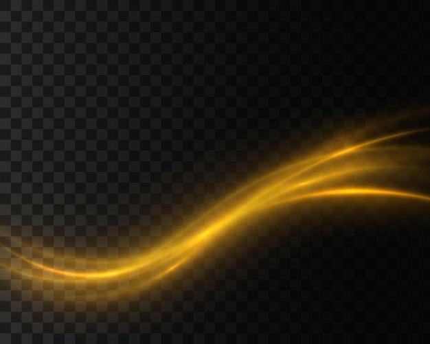 透明な背景に金の粒子と波
