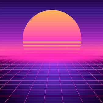 レトロな未来的な背景のwavewave。ネオン幾何学的シンセウェーブグリッド、夕日と光の空間。