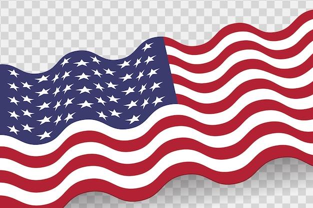 アメリカの国旗を振っています。アメリカの祝日の背景。透明な背景に分離