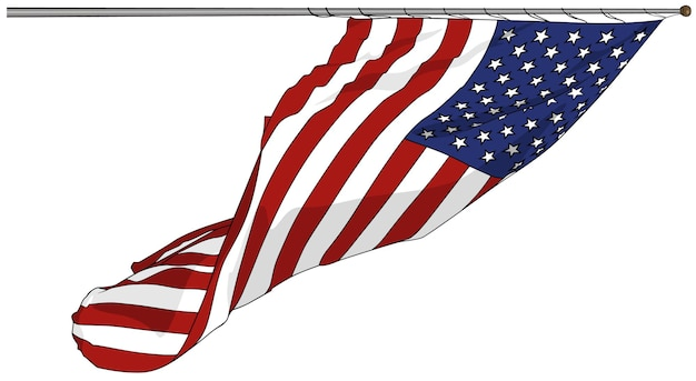 Развевающийся американский флаг, изолированные на белом фоне