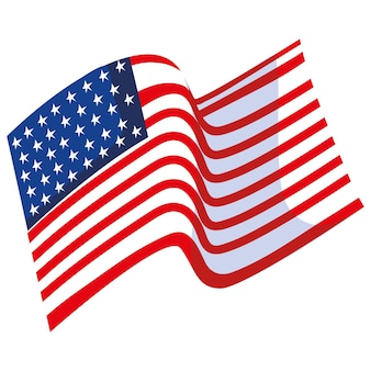 Waving american flag patriotism isolated