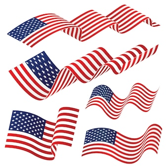 Waving american national flag isolated on white background, vector