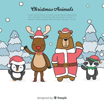 Waving animals christmas background