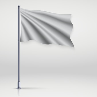 Waving blank flag on flagpole.