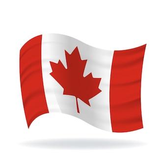 白い背景の上の手を振るカナダの旗を振る