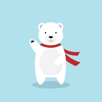 Waving cartoon polar bear