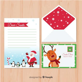 Waving characters christmas letter template