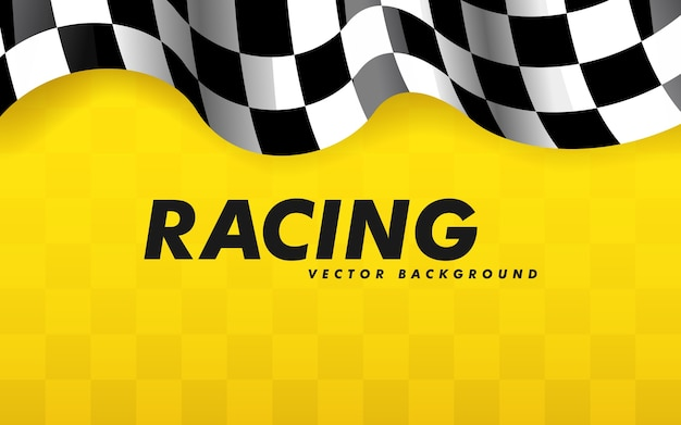 Waving checkered flag along the edges on a yellow background