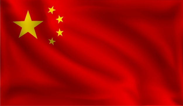 Waving the china flag, the chinese flag
