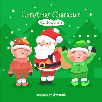 Waving christmas characters collection