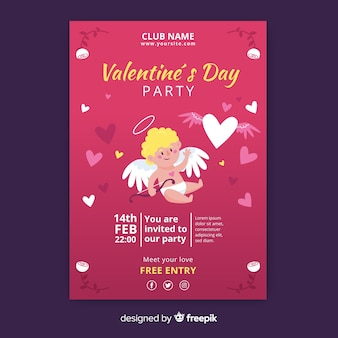 Waving cupid valentine party poster template