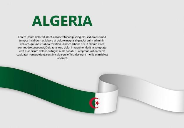 Waving flag of algeria banner