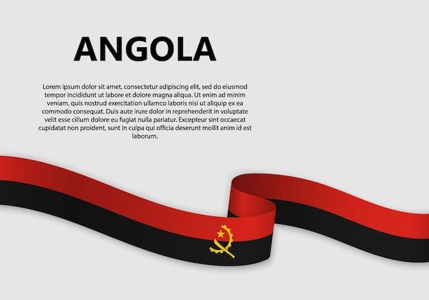 Waving flag of angola banner