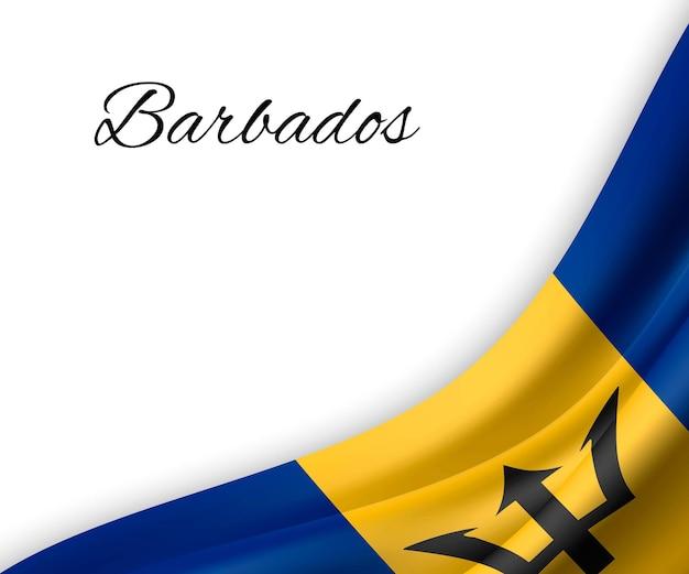 Waving flag of barbados on white background.