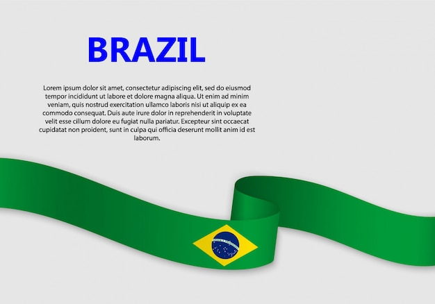 Waving flag of brazil banner