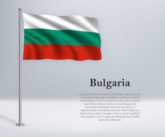 Waving flag of bulgaria on flagpole