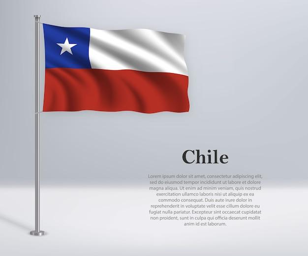Waving flag of chile on flagpole
