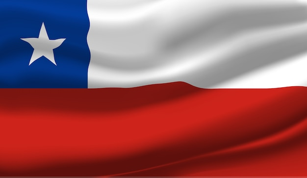 Waving flag of the chile. waving chile flag