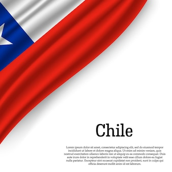 Waving flag of chile on white