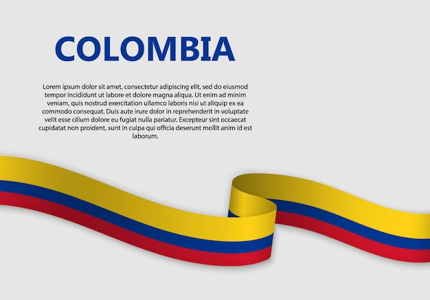 Waving flag of colombia banner