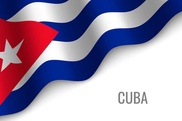 Waving flag of cuba  .