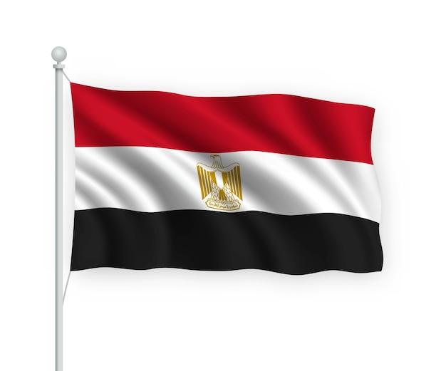 Развевающийся флаг египта на флагштоке изолированного на белом