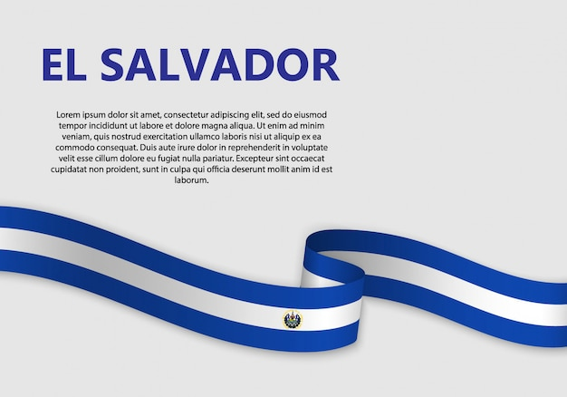 Waving flag of el salvador, vector illustration