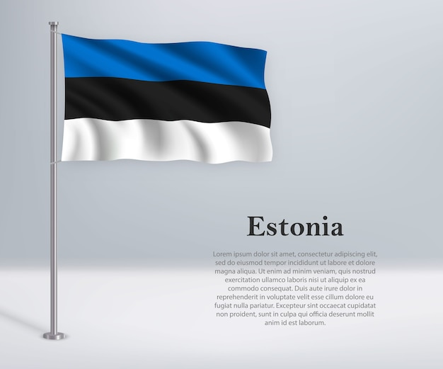 Waving flag of estonia on flagpole