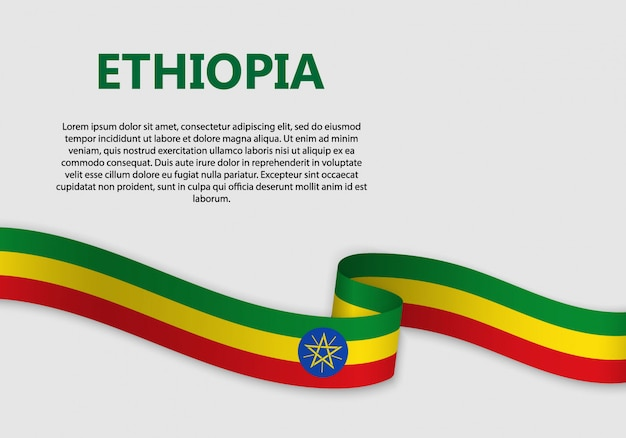 Waving flag of ethiopia banner