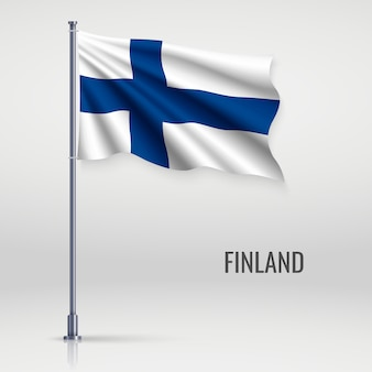 Waving flag on flagpole.