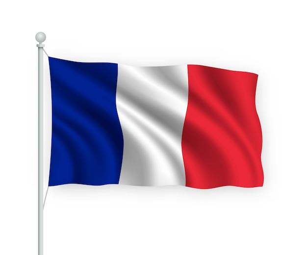 Waving flag france on flagpole isolated on white