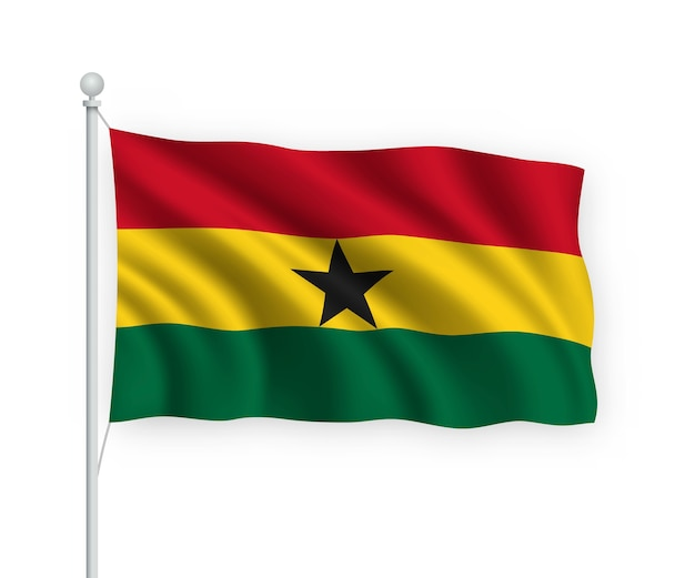 Waving flag ghana on flagpole isolated on white