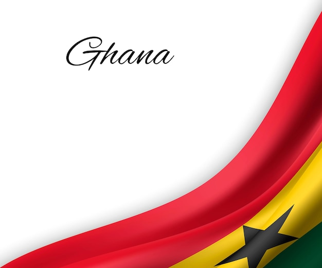 Waving flag of ghana on white background.