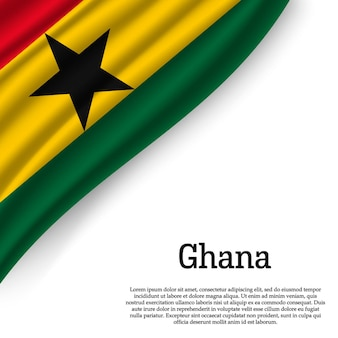 Waving flag of ghana on white