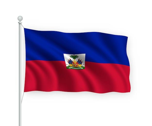 Waving flag haiti on flagpole isolated on white