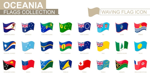 Waving flag icon, flags of oceania countries sorted alphabetically. vector illustration.