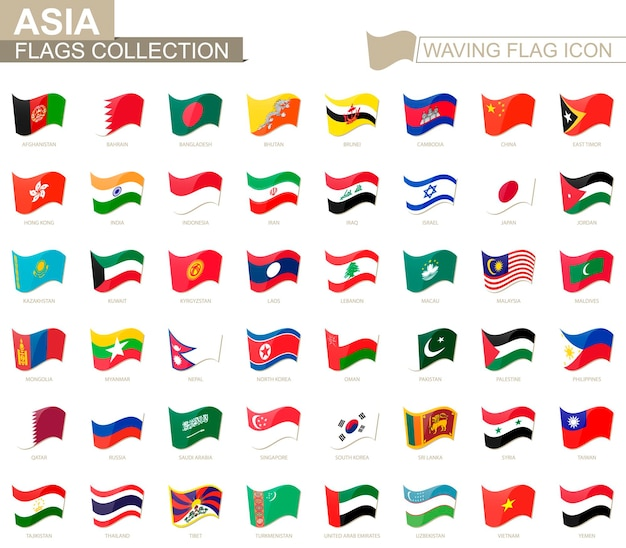 旗のアイコンを振って、アジア諸国の旗をアルファベット順に並べ替えました。ベクトルイラスト。