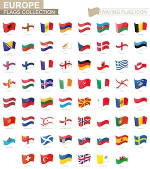 깃발 아이콘을 흔들며 유럽 국가의 깃발은 알파벳순으로 정렬됩니다. 벡터 일러스트 레이 션.