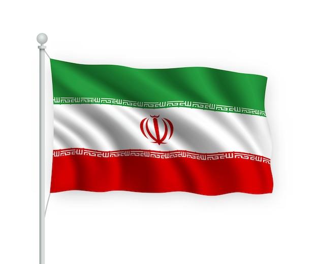 Waving flag iran on flagpole isolated on white