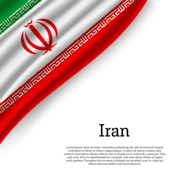 Waving flag of iran on white