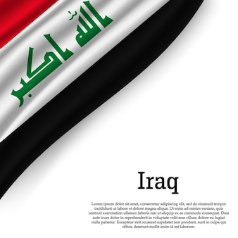 Waving flag of iraq on white