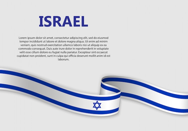 Waving flag of israel banner