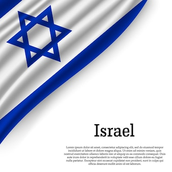 Waving flag of israel on white