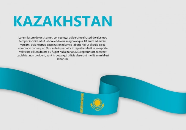 Waving flag of kazakhstan banner
