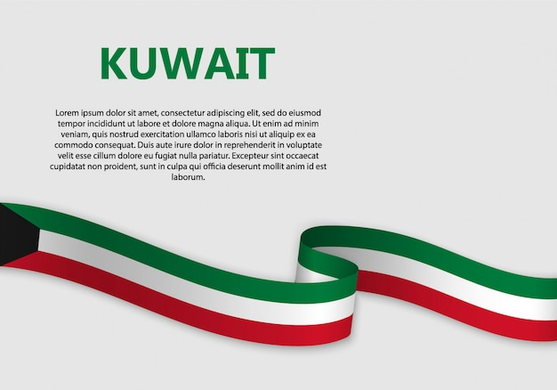 Waving flag of kuwait banner