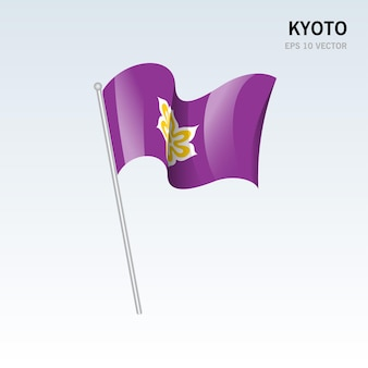 Waving flag of kyoto prefectures of japan isolated on gray background