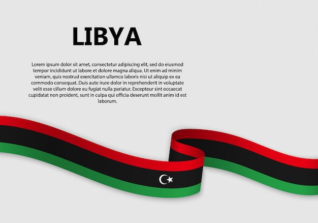 Waving flag of libya banner